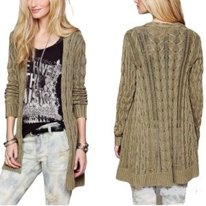 Free People Crochet Cardigan Sweater Open Cable Knit Long Line Green Medium